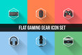Flat Gaming Gear Icon Set