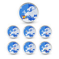 Flat Globe set with EU countries World Map Location Part 1 Royalty Free Stock Photo
