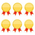 Flat golden medals with rbbons set of blank ribbons design Royalty Free Stock Photography