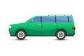 Flat green car vehicle type design sedan style vector generic classic business illustration isolated.