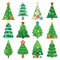Flat green christmas trees. December holidays modern tree with snow leaves. Xmas spruce shapes vector illustration set