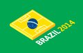 Flat green soccer field brazil flag design vector background illustration Stock Photography