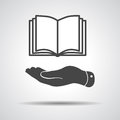 Flat hand showing book icon Royalty Free Stock Photo
