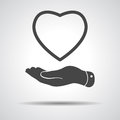 Flat hand showing heart icon