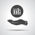 Flat hand showing the icon of graph going down vector illustration Royalty Free Stock Photography