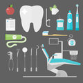 Flat health care dentist symbols research medical tools healthcare system concept and medicine instrument hygiene