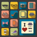 Flat hipster icon set of Royalty Free Stock Photos