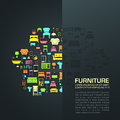 Flat home furniture icon design in a sofa shape with half transparent background space with sample text, create by vector
