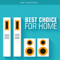 Flat home theater system on the background with long shadow and slogan vector illustration concept design Royalty Free Stock Photos