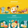 Flat Breakfast Banners Set