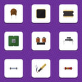 Flat Icon Appliance Set Of Cpu, Microprocessor, Repair And Other Vector Objects. Also Includes Triode, Transistor