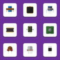 Flat Icon Appliance Set Of Microprocessor, Resistance, Resist And Other Vector Objects. Also Includes Motherboard, Cpu