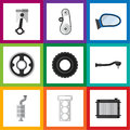 Flat Icon Auto Set Of Packing, Wheel, Auto Component And Other Vector Objects. Also Includes Spherical, Piston, Gasket
