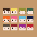 Flat icon avatars a set of cute in style Stock Images