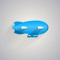 Flat icon for blue zeppelin with white wings on gray background Royalty Free Stock Photo