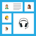 Flat Icon Center Set Of Secretary, Earphone, Telemarketing And Other Vector Objects. Also Includes Hotline, Call