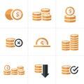 Flat icon Coins Icons Set, Vector Design black color