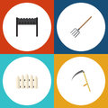 Flat Icon Dacha Set Of Barbecue, Wooden Barrier, Hay Fork And Other Vector Objects. Also Includes Barrier, Fence, Cutter