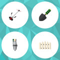 Flat Icon Dacha Set Of Grass-Cutter, Wooden Barrier, Trowel And Other Vector Objects. Also Includes Fence, Tool, Wooden