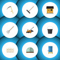 Flat Icon Dacha Set Of Harrow, Container, Hay Fork And Other Vector Objects. Also Includes Fence, Wooden, Barn Elements.