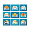 Flat icon design mail a set of of mailing technology with multiple functions Royalty Free Stock Photo