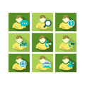 Flat icon design people a set of of user account technology with multiple functions Royalty Free Stock Photo