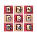 Flat icon design phone a set of of mobile technology with multiple functions Royalty Free Stock Images