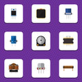 Flat Icon Device Set Of Cpu, Resist, Bobbin And Other Vector Objects. Also Includes Resistance, Fiildistor, Resistor