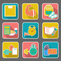 Flat icon diet and fitness vector illustration Royalty Free Stock Images