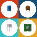 Flat Icon Electronics Set Of Resist, Unit, Triode And Other Vector Objects. Also Includes Semiconductor, Unit, Central