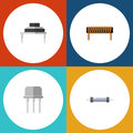 Flat Icon Electronics Set Of Resistor, Bobbin, Resist And Other Vector Objects. Also Includes Resistance, Resist, Coil