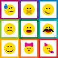 Flat Icon Emoji Set Of Cheerful, Tears, Caress And Other Vector Objects. Also Includes Frown, Fun, Party Elements. Royalty Free Stock Photo
