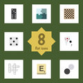 Flat Icon Entertainment Set Of Bones Game, Ace, Guess And Other Vector Objects. Also Includes Chequer, Mahjong, Enigma