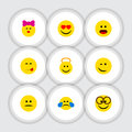 Flat Icon Expression Set Of Angel, Winking, Caress And Other Vector Objects. Also Includes Eyeglasses, Pleasant, Emoji
