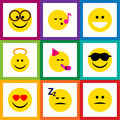 Flat Icon Face Set Of Angel, Grin, Pleasant And Other Vector Objects. Also Includes Cheerful, Fun, Sing Elements.
