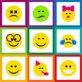 Flat Icon Face Set Of Caress, Frown, Party Time Emoticon And Other Vector Objects. Also Includes Joy, Tears, Eyeglasses