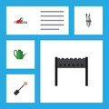 Flat Icon Farm Set Of Pump, Bailer, Spade And Other Vector Objects. Also Includes Bbq, Shovel, Brazier Elements.