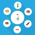 Flat Icon Food Set Of Beef, Bottle, Kielbasa And Other Vector Objects. Also Includes Spaghetti, Milk, Biscuit Elements.