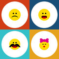 Flat Icon Gesture Set Of Caress, Cheerful, Sad And Other Vector Objects. Also Includes Kiss, Confused, Whiskers Elements
