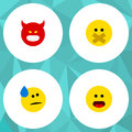 Flat Icon Gesture Set Of Wonder, Tears, Hush And Other Vector Objects. Also Includes Sad, Face, Hush Elements.