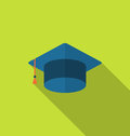 Flat icon graduation cap with long shadow style Royalty Free Stock Photo
