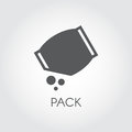 Flat icon of grocery pack with abstract bulk ingredient. Culinary concept. Vector black logo