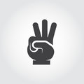 Flat icon hands - three fingers up sign. Number three gesture, body language symbol. Vector illustration Royalty Free Stock Photo