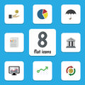 Flat Icon Incoming Set Of Hand With Coin, Document, Chart Vector Objects. Also Includes Chart, Swap, Bar Elements.
