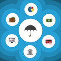 Flat Icon Incoming Set Of Parasol, Payment, Billfold And Other Vector Objects. Also Includes Credit, Money, Pie Elements Royalty Free Stock Photo