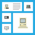 Flat Icon Laptop Set Of Technology, Computer, Vintage Hardware And Other Vector Objects. Also Includes Computer, Retro