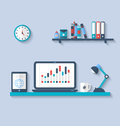 Flat icon of modern office interior with designer desktop Royalty Free Stock Photo