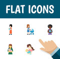 Flat Icon Mother Set Of Perambulator, Woman, Baby And Other Vector Objects. Also Includes Nanny, Woman, Child Elements. Royalty Free Stock Photo