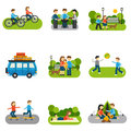 Flat icon outing with people outdoors activities isolated vector illustration Stock Photo