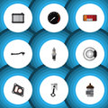 Flat Icon Parts Set Of Conrod Royalty Free Stock Photo